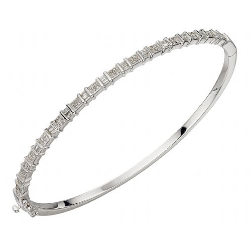 Baguette Bar Diamond Bangle in White Gold (GB848)